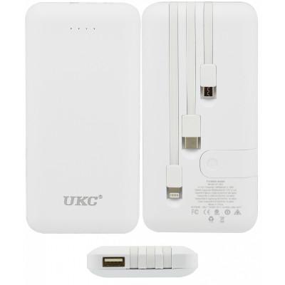 Power Bank UKC LP303,10000 mAh 100% емкость, с встроенными кабелями зарядки
